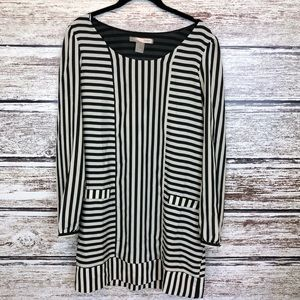 Love 21 black white striped mini dress tunic small